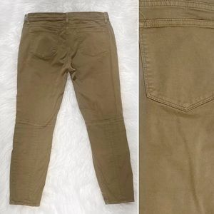 J. Crew Seamed Motorcycle Pants Olive EUC